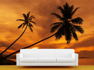 Red and Orange Sunset Wall Mural