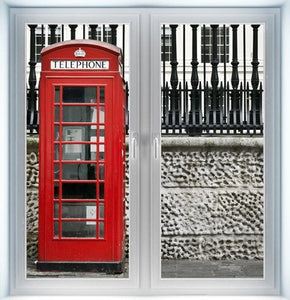 Red British Telephone Box Instant Window
