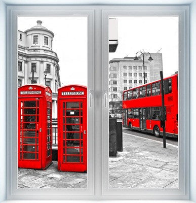 Red Bus and Telephone Boxes Instant Window