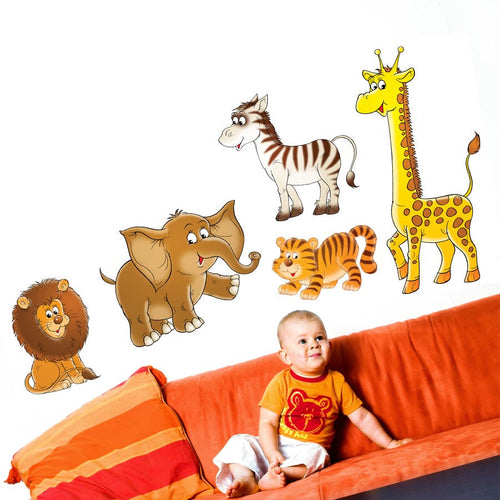 Cartoon Safari Animal Wall Decal Set