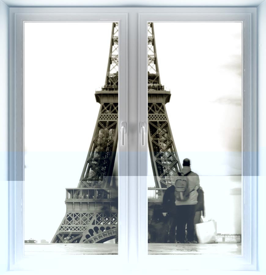 Silhouette of Eiffel Tower Instant Window