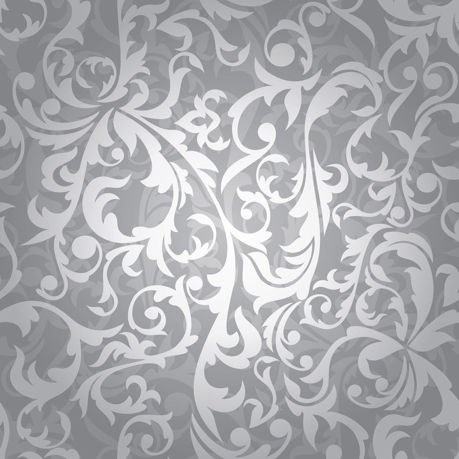 Silver Floral Pattern Wall Mural Majestic Wall Art