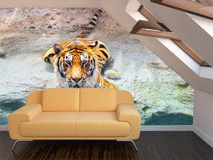 Sitting Tiger Wall Mural