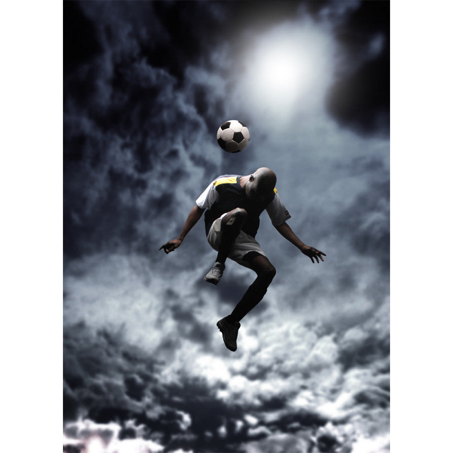 Soccer Player Jumping Wall Mural