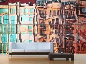 Street Mirrored in Glass Building Wall Mural