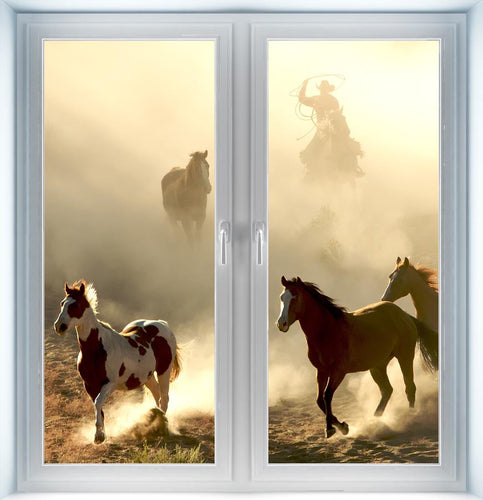 Sunlite Horse and Cowboy Galloping Instant Window