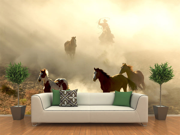 Sunlight Horses and Cowboy Galloping Wall Mural