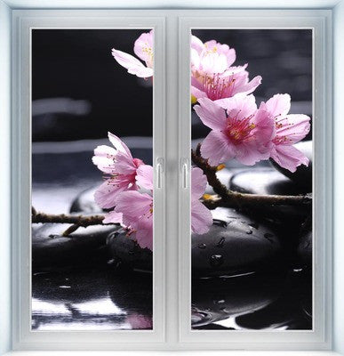 Therapy Stones with Cherry Flowers Instant Window