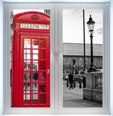 Traditional Red Phone Booth Instant Window