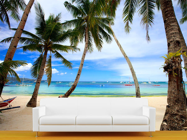 Perfect Tropical Beach with Palm Trees Wall Mural