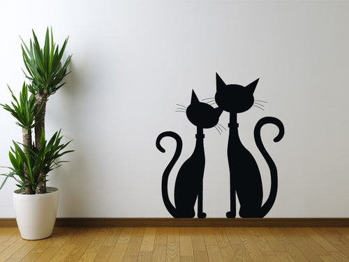 Two Black Cats Wall Decal
