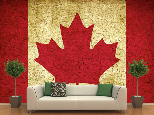 Vintage Canadian Flag Wall Mural