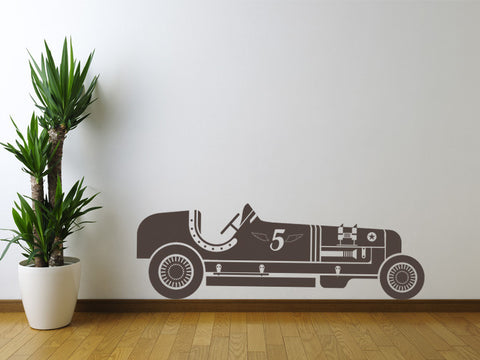 Vintage Number 5 Race Car Wall Decal
