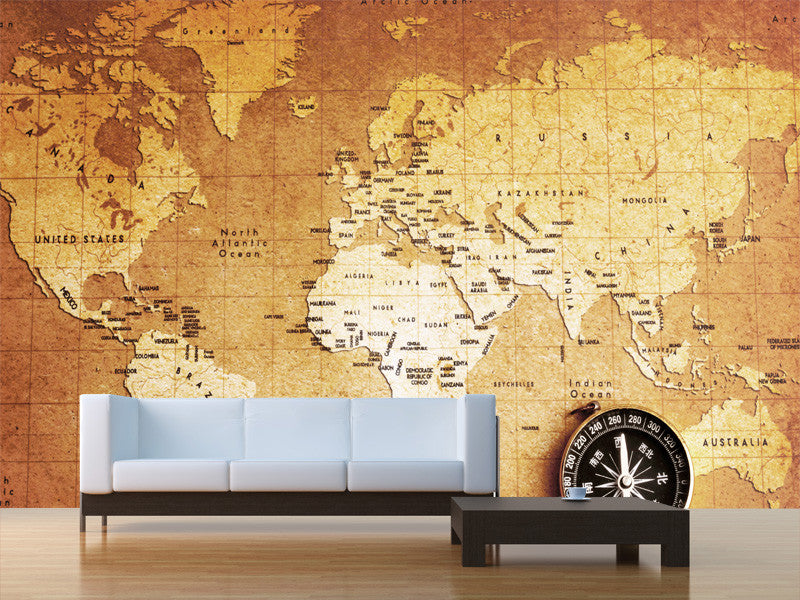 Vintage Treasure Map Wall Mural Majestic Wall Art - Map wall mural decal