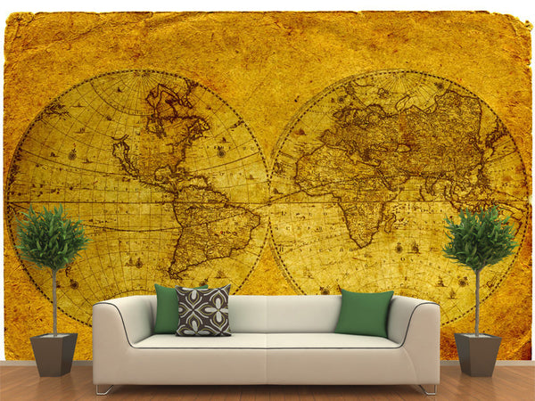 Vintage world map wall mural majestic wall art for Antique world map wall mural