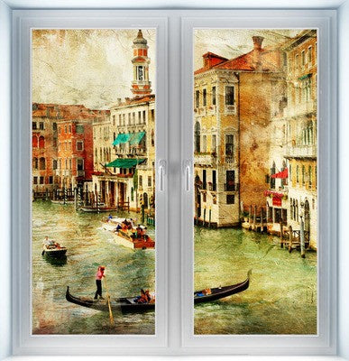 Vintage Venice Scene Closed Instant Window
