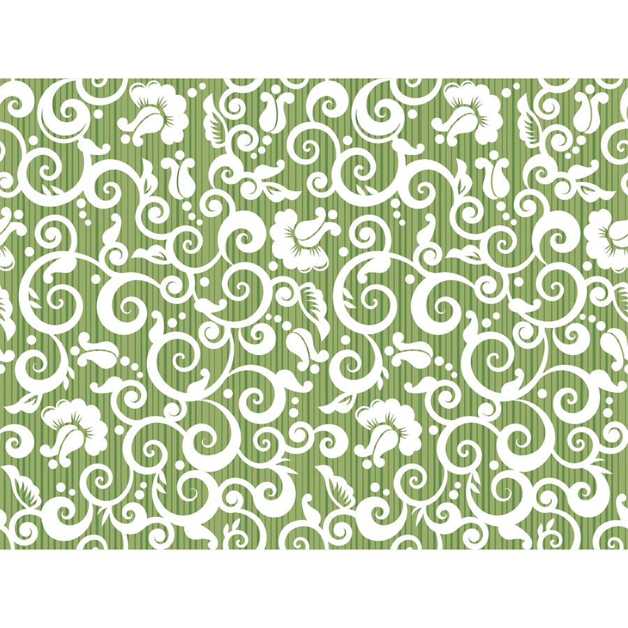 White and Green Floral Pattern Wall Mural