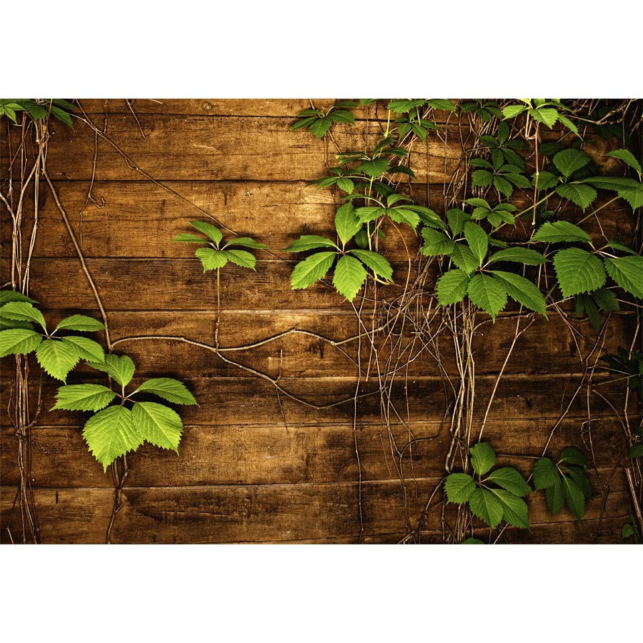 Wooden Texture with Green Leaves Wall Murals