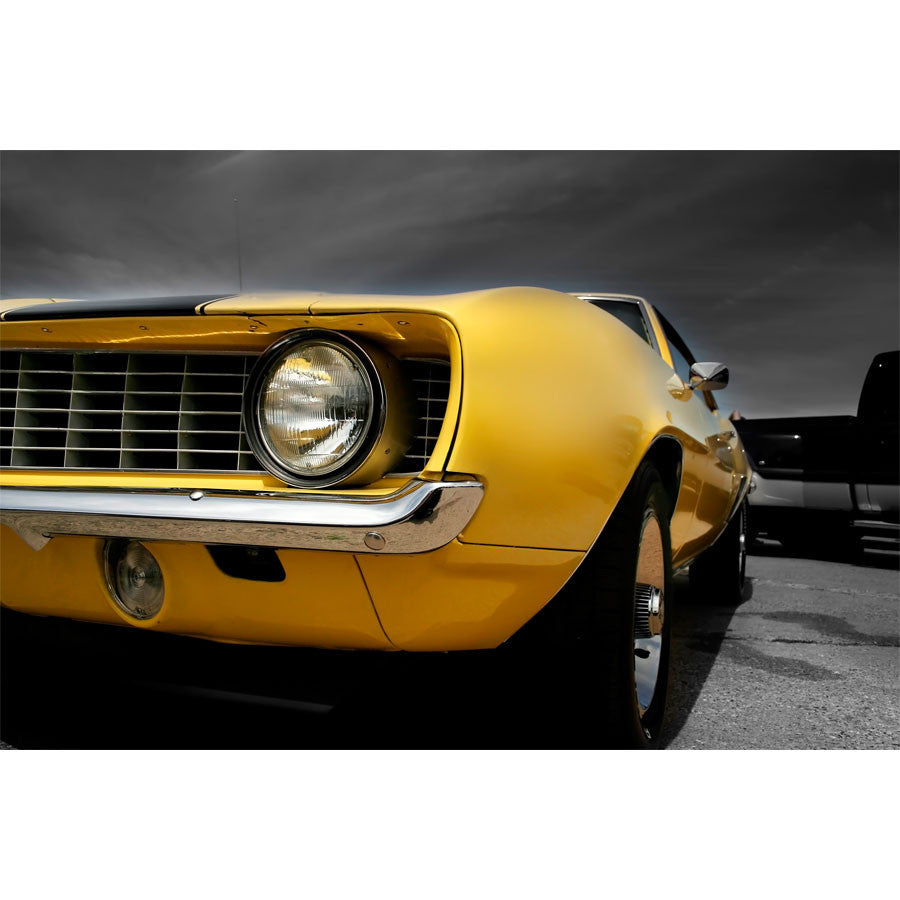 Yellow Muscle Car Wall Mural