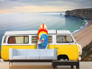 Yellow Van with Surf Board Wall Mural