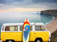 Load image into Gallery viewer, Yellow Van with Surf Board Wall Mural