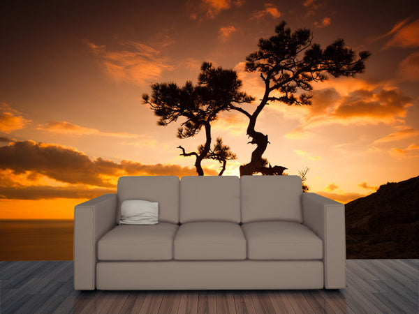 Zen Tree on Cliffs at Sunset Wall Mural