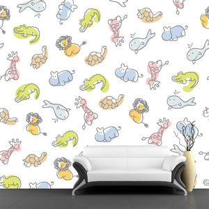 Adorable Zoo Pattern Wall Mural