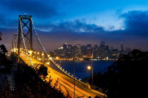 Bay Bridge and San Francisco at Night Wall Mural