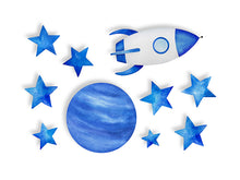 Load image into Gallery viewer, Blue Stars Cosmic Spaceship Wall Decal Sticker Set