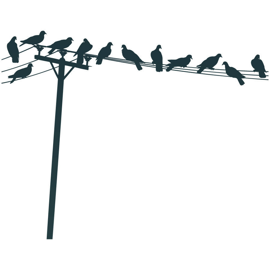 Birds Sitting on Telephone Line Wall Decal