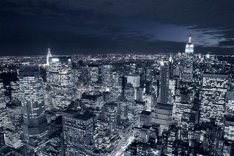 Blue New York City Skyline Wall Mural
