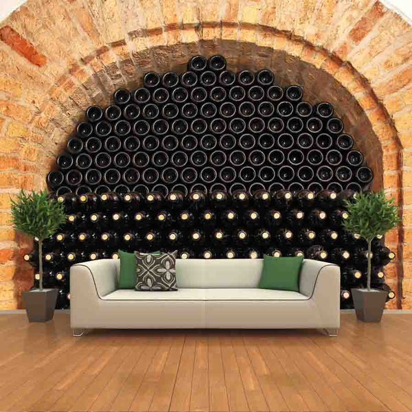 Bottles of Wine in a Cellar Wall Mural