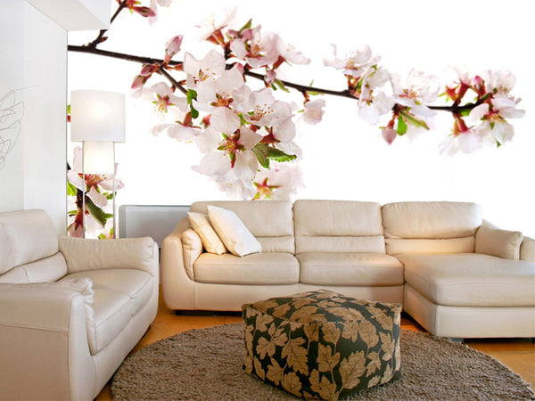 Branch of Pink Cherry Blossoms Wall Mural