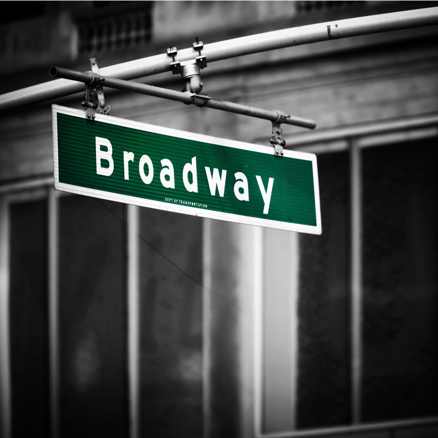 Broadway Sign with Black and White Background Wall Mural