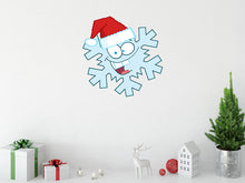 Load image into Gallery viewer, Cartoon Snow Flake with Santa Hat Wall Decal