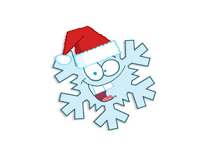 Cartoon Snow Flake with Santa Hat Wall Decal