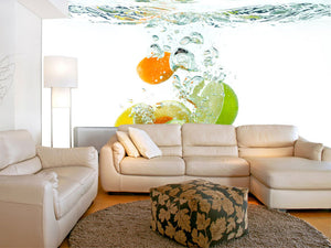 Citrus Fruit Falling into Water Wall Mural