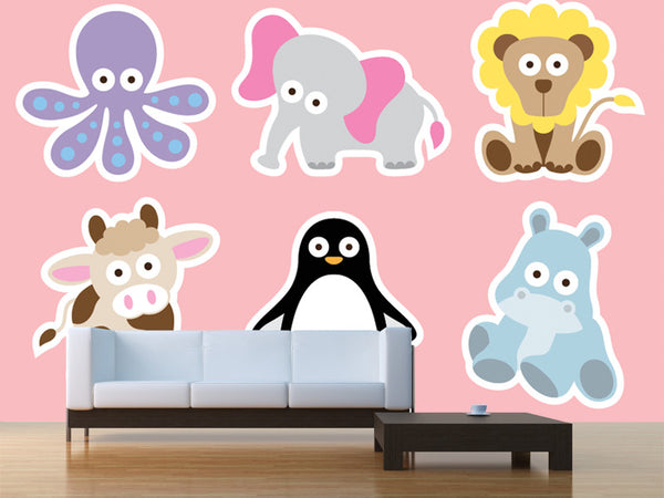 Cute Animal Characters Wall Mural