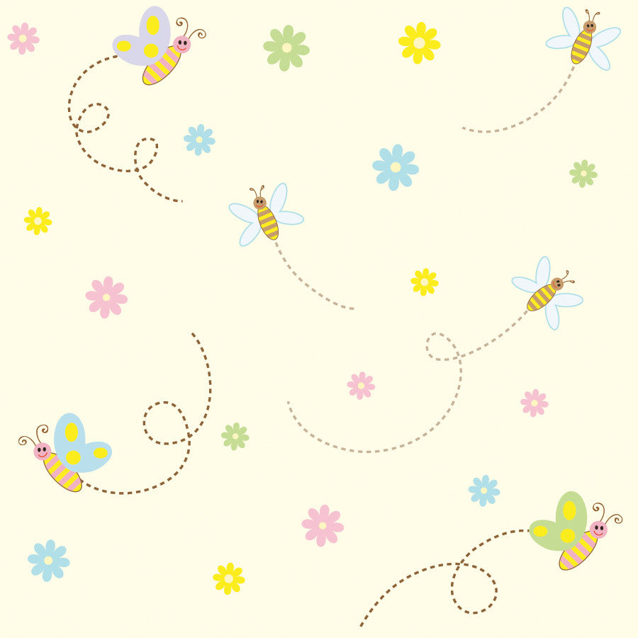 Cute Little Bees Wall Mural