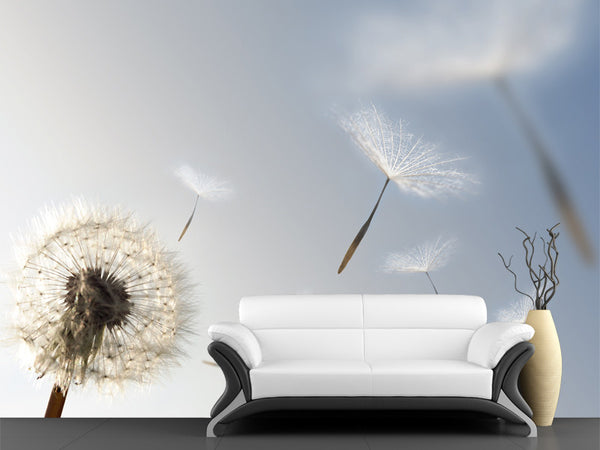 Dandelion Blowing Seeds in the Wind Wall Mural