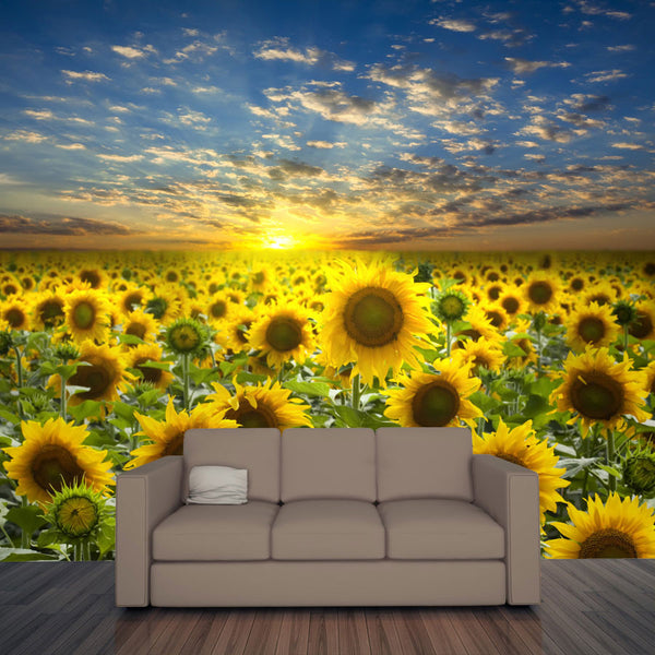 Field of Flowering Sunflowers Wall Mural