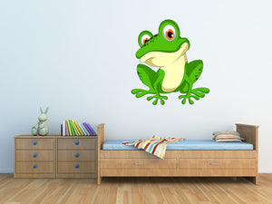 Funny Green Frog Cartoon Wall Decal
