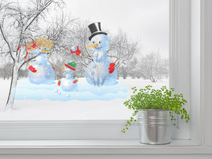 Happy Snowman Family Wall Decal