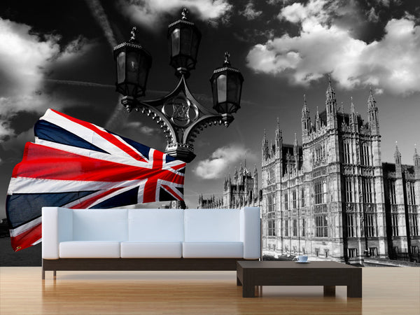 Houses of Parliament with Flag Wall Mural