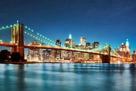 Illuminated Brooklyn Bridge with NYC Skyline in Background Wall Mural