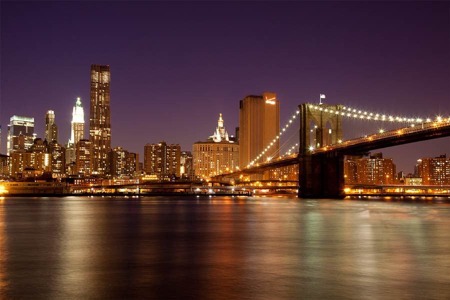 Manhattan Skyline by Night Wall Mural