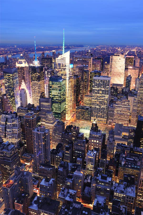 Manhattan And Times Square At Night Wall Mural Part 35