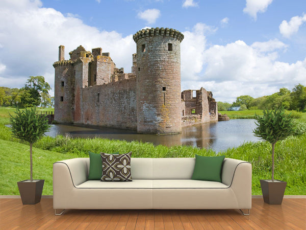 Moated Caerlave Rock Castle Scotland Wall Mural