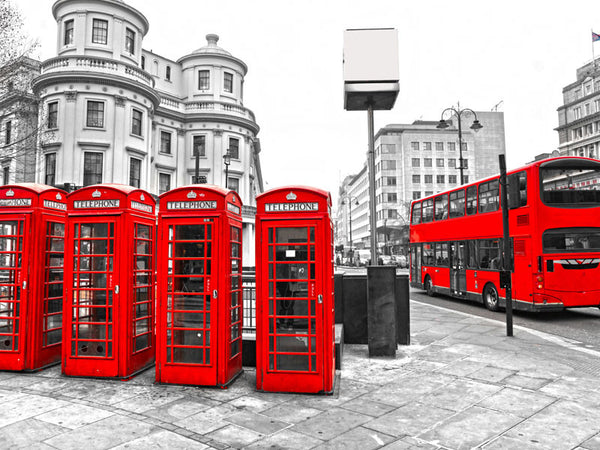 Red Bus and telephone Boxes Wall Mural