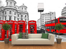Load image into Gallery viewer, Red Bus and telephone Boxes Wall Mural